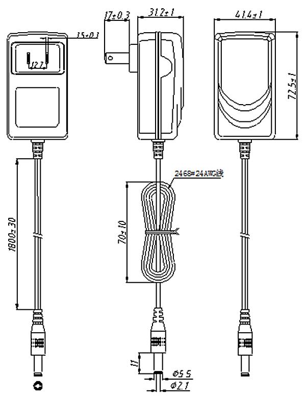 110v plug type ul switch wall power supply en61558 ac