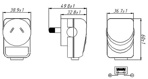 saa australia power plug dc adapter with usb 5v 1a