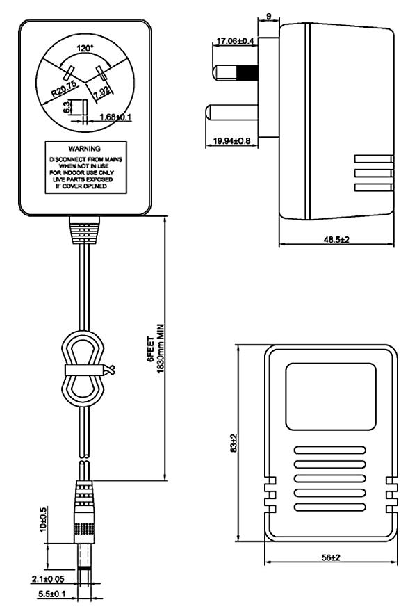 3 pin australia plug adapter linear adaptor 220v dc power